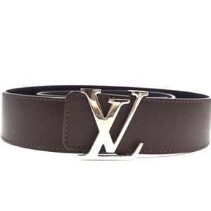 Lv Signature Logo Silver Buckle 85/34 Belt